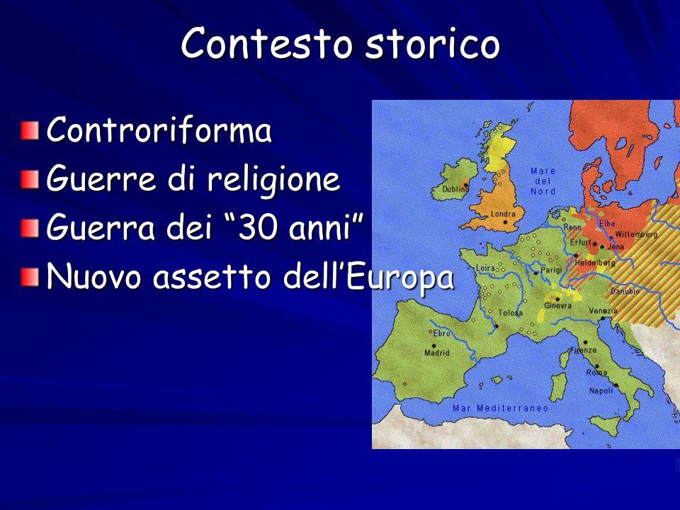 Contesto storico Controriforma Guerre di religione Guerra dei 30 anni Nuovo assetto dellEuropa
