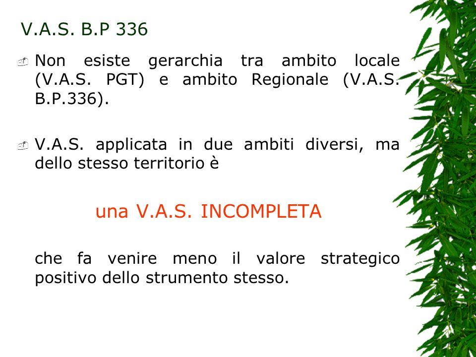 Non esiste gerarchia tra ambito locale (V.A.S.PGT) e ambito Regionale (V.A.S.