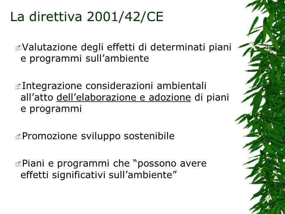 La direttiva 2001/42/CE Valutazione degli effetti di determinati piani e programmi sullambiente Integrazione considerazioni ambientali allatto dellelaborazione e adozione di piani e programmi Promozione sviluppo sostenibile Piani e programmi che possono avere effetti significativi sullambiente