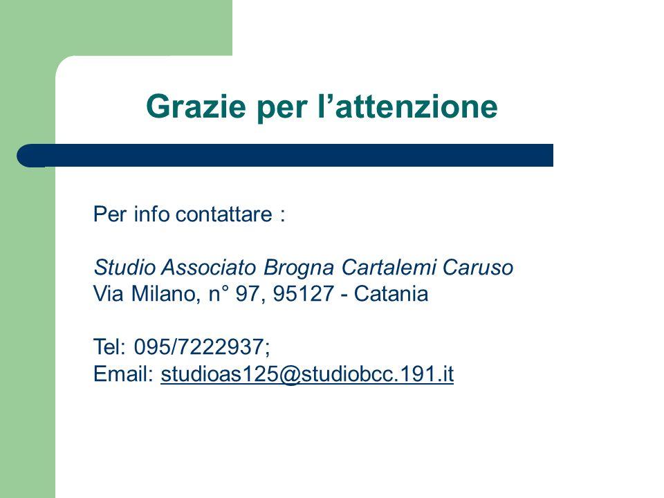 Grazie per lattenzione Per info contattare : Studio Associato Brogna Cartalemi Caruso Via Milano, n° 97, 95127 - Catania Tel: 095/7222937; Email: studioas125@studiobcc.191.itstudioas125@studiobcc.191.it
