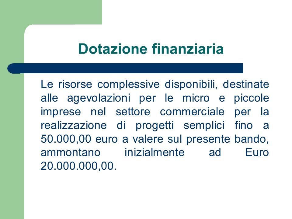 Dotazione finanziaria Le risorse complessive disponibili, destinate alle agevolazioni per le micro e piccole imprese nel settore commerciale per la realizzazione di progetti semplici fino a 50.000,00 euro a valere sul presente bando, ammontano inizialmente ad Euro 20.000.000,00.