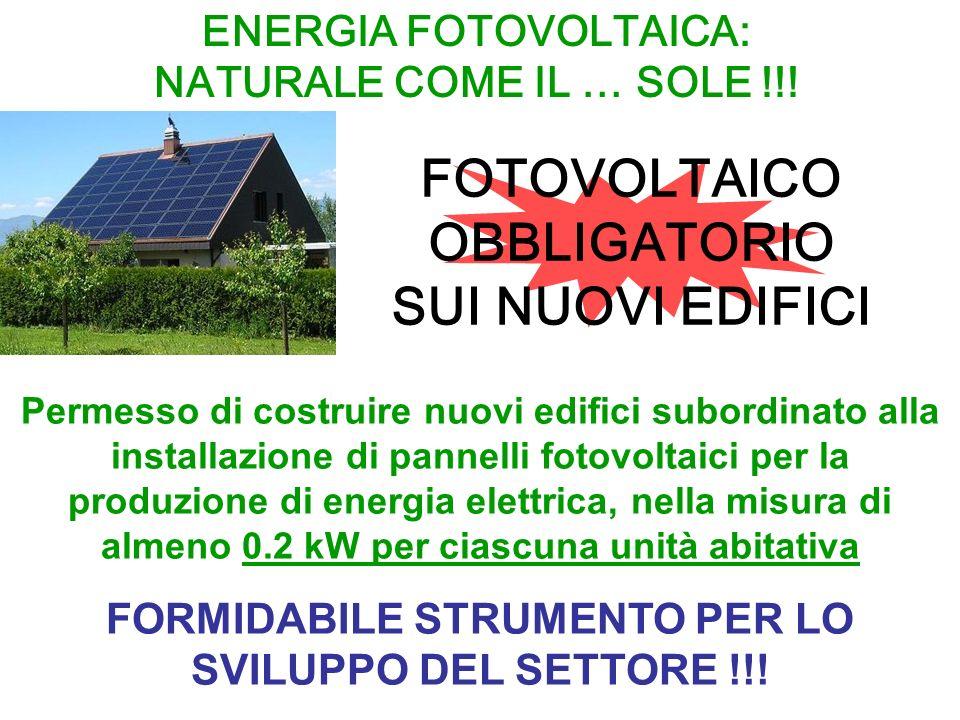 Permesso di costruire nuovi edifici subordinato alla installazione di pannelli fotovoltaici per la produzione di energia elettrica, nella misura di almeno 0.2 kW per ciascuna unità abitativa FORMIDABILE STRUMENTO PER LO SVILUPPO DEL SETTORE !!.