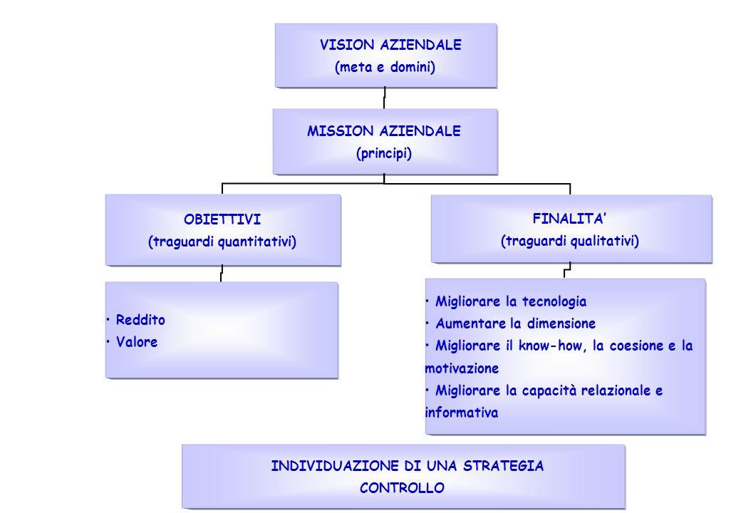 VISION AZIENDALE (meta e domini) MISSION AZIENDALE (principi) OBIETTIVI (traguardi quantitativi) Reddito Valore FINALITA (traguardi qualitativi) Migliorare la tecnologia Aumentare la dimensione Migliorare il know-how, la coesione e la motivazione Migliorare la capacità relazionale e informativa INDIVIDUAZIONE DI UNA STRATEGIA CONTROLLO