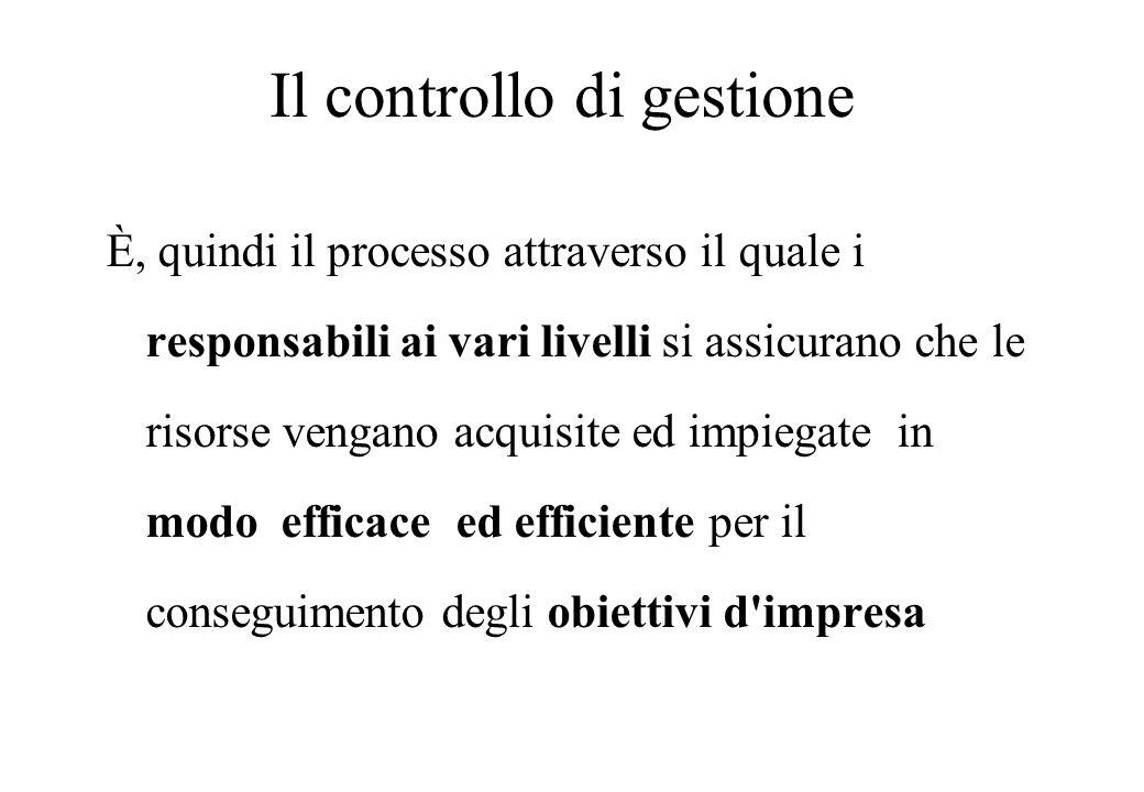 Il controllo di gestione È, quindi il processo attraverso il quale i responsabili ai vari livelli si assicurano che le risorse vengano acquisite ed impiegate in modo efficace ed efficiente per il conseguimento degli obiettivi d impresa