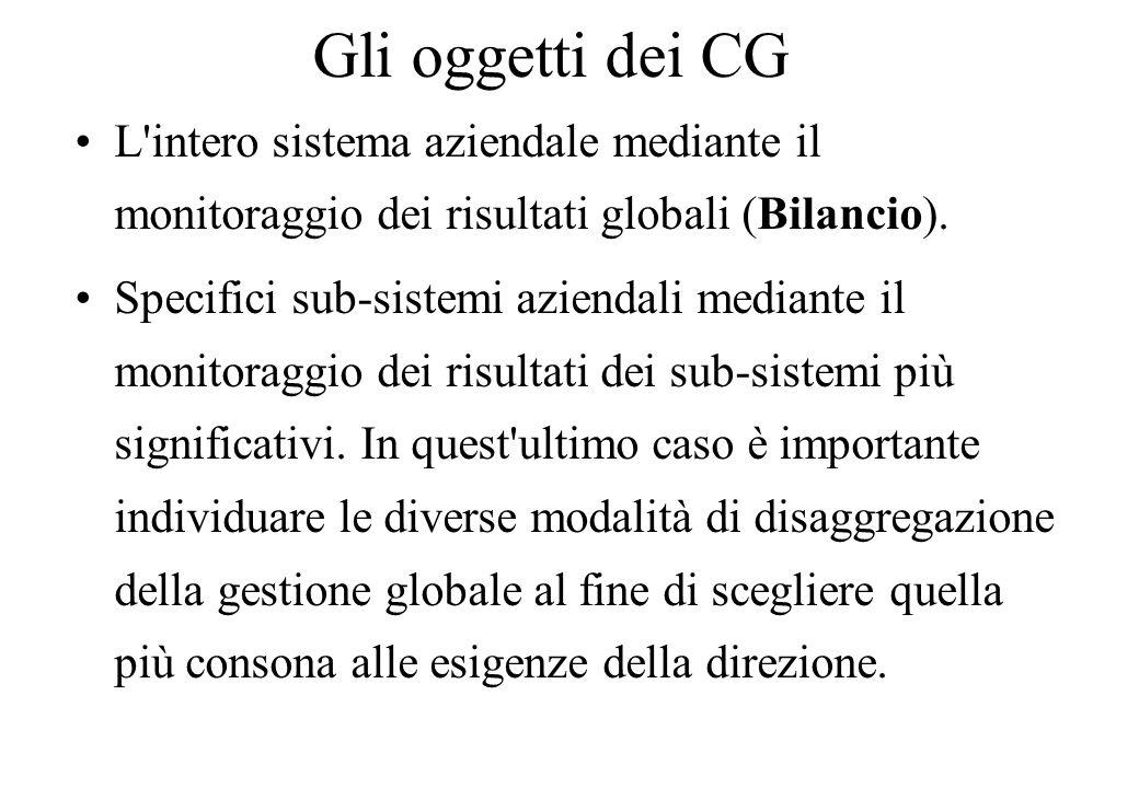 Gli oggetti dei CG L intero sistema aziendale mediante il monitoraggio dei risultati globali (Bilancio).