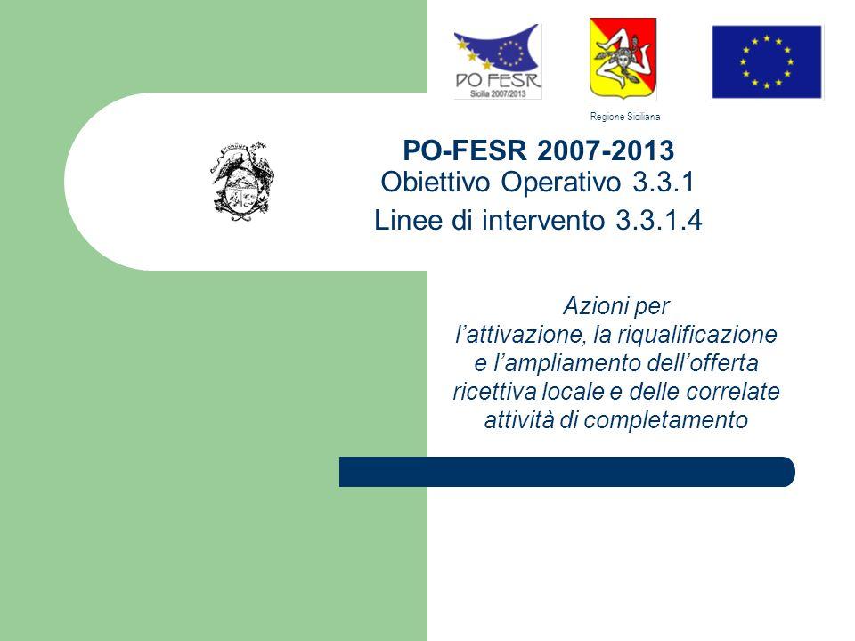 PO-FESR 2007-2013 Obiettivo Operativo 3.3.1 Linee di intervento 3.3.1.4 Azioni per lattivazione, la riqualificazione e lampliamento dellofferta ricettiva locale e delle correlate attività di completamento Regione Siciliana