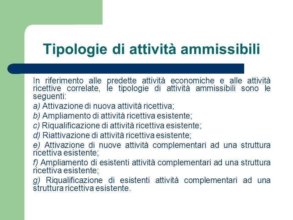 Tipologie di attività ammissibili In riferimento alle predette attività economiche e alle attività ricettive correlate, le tipologie di attività ammis