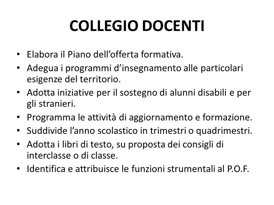 COLLEGIO DOCENTI Elabora il Piano dellofferta formativa.