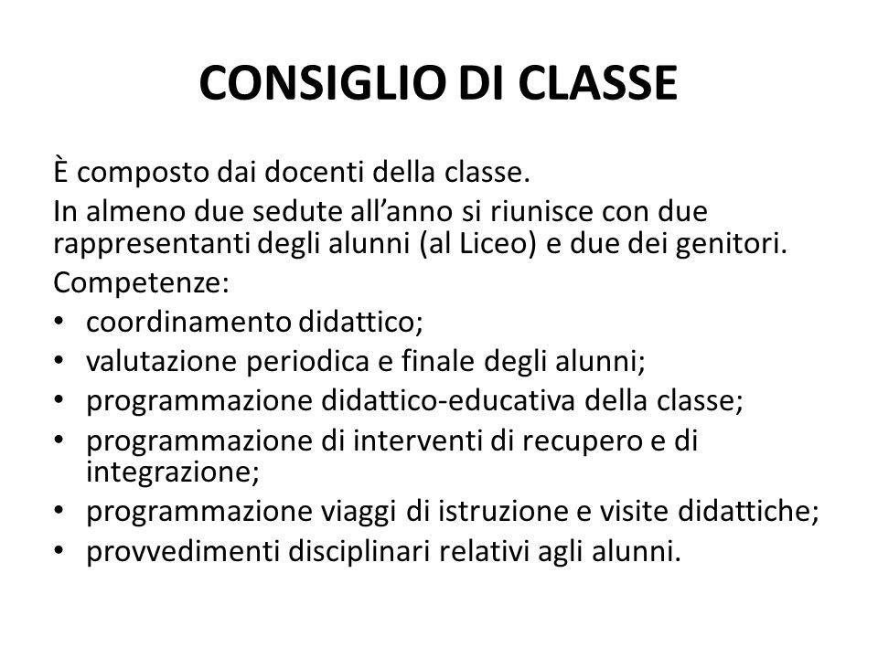 CONSIGLIO DI CLASSE È composto dai docenti della classe. In almeno due sedute allanno si riunisce con due rappresentanti degli alunni (al Liceo) e due