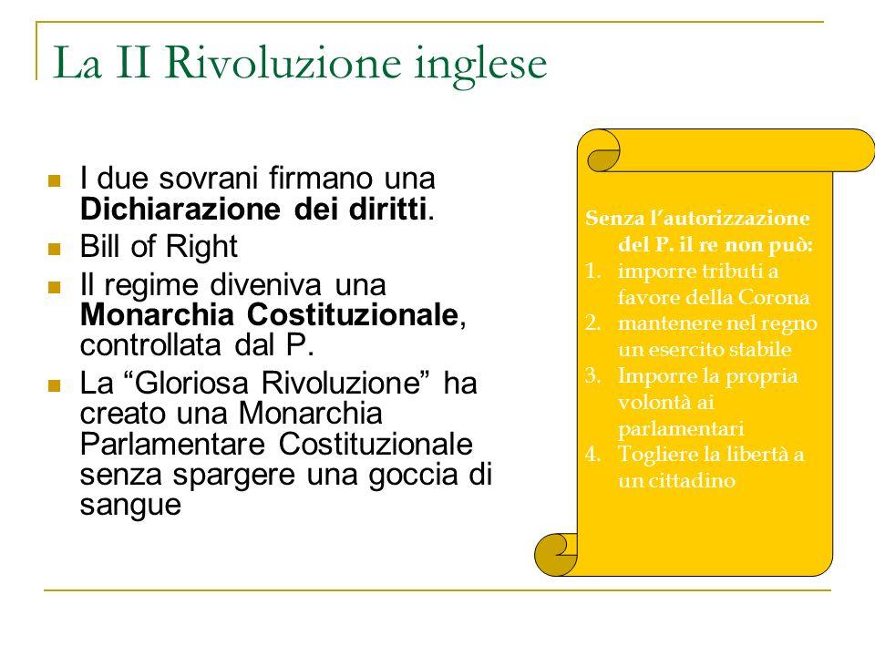 La II Rivoluzione inglese I due sovrani firmano una Dichiarazione dei diritti. Bill of Right Il regime diveniva una Monarchia Costituzionale, controll