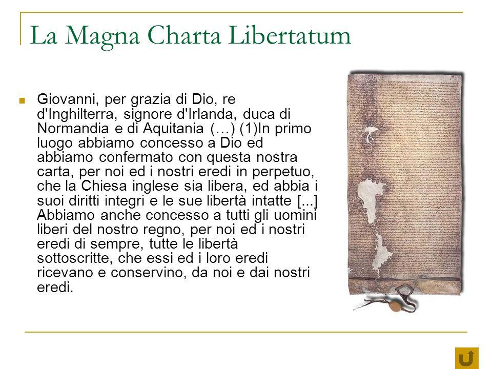 La Magna Charta Libertatum Giovanni, per grazia di Dio, re d'Inghilterra, signore d'Irlanda, duca di Normandia e di Aquitania (…) (1)In primo luogo ab