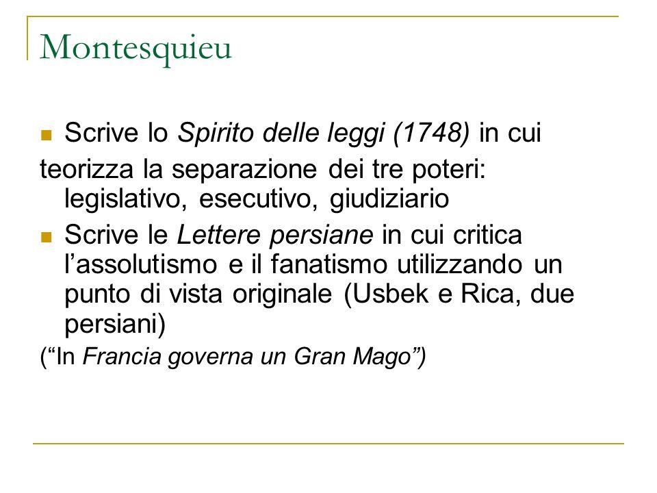 Montesquieu Scrive lo Spirito delle leggi (1748) in cui teorizza la separazione dei tre poteri: legislativo, esecutivo, giudiziario Scrive le Lettere
