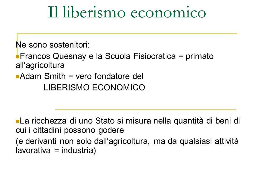 Il liberismo economico Ne sono sostenitori: Francos Quesnay e la Scuola Fisiocratica = primato allagricoltura Adam Smith = vero fondatore del LIBERISM
