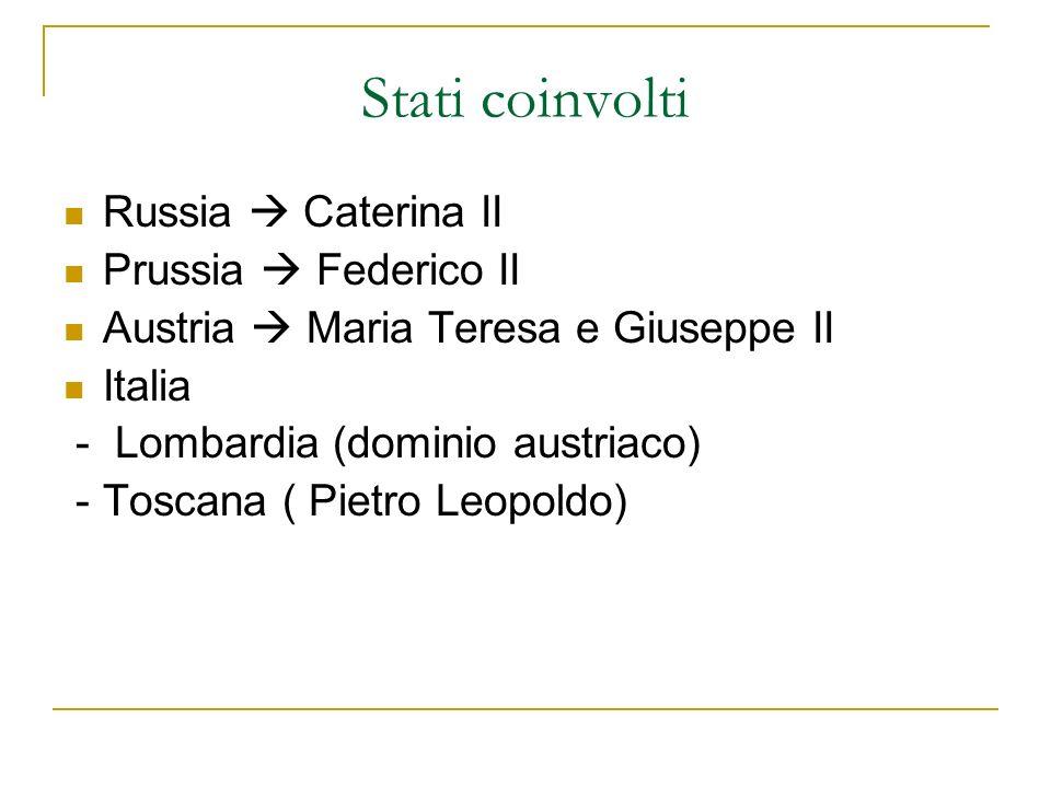 Stati coinvolti Russia Caterina II Prussia Federico II Austria Maria Teresa e Giuseppe II Italia - Lombardia (dominio austriaco) - Toscana ( Pietro Le