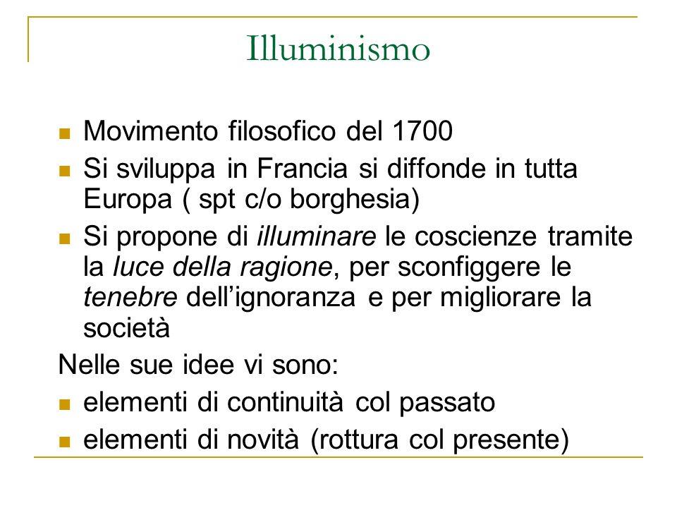 Illuminismo Movimento filosofico del 1700 Si sviluppa in Francia si diffonde in tutta Europa ( spt c/o borghesia) Si propone di illuminare le coscienz