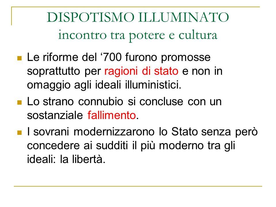 DISPOTISMO ILLUMINATO incontro tra potere e cultura Le riforme del 700 furono promosse soprattutto per ragioni di stato e non in omaggio agli ideali i