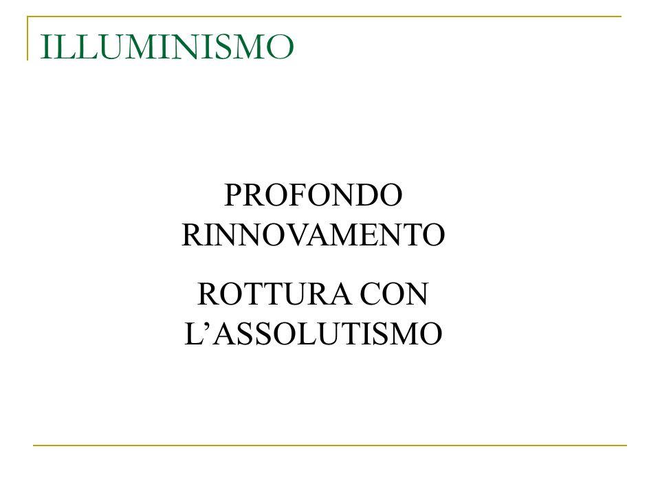 PROFONDO RINNOVAMENTO ROTTURA CON LASSOLUTISMO