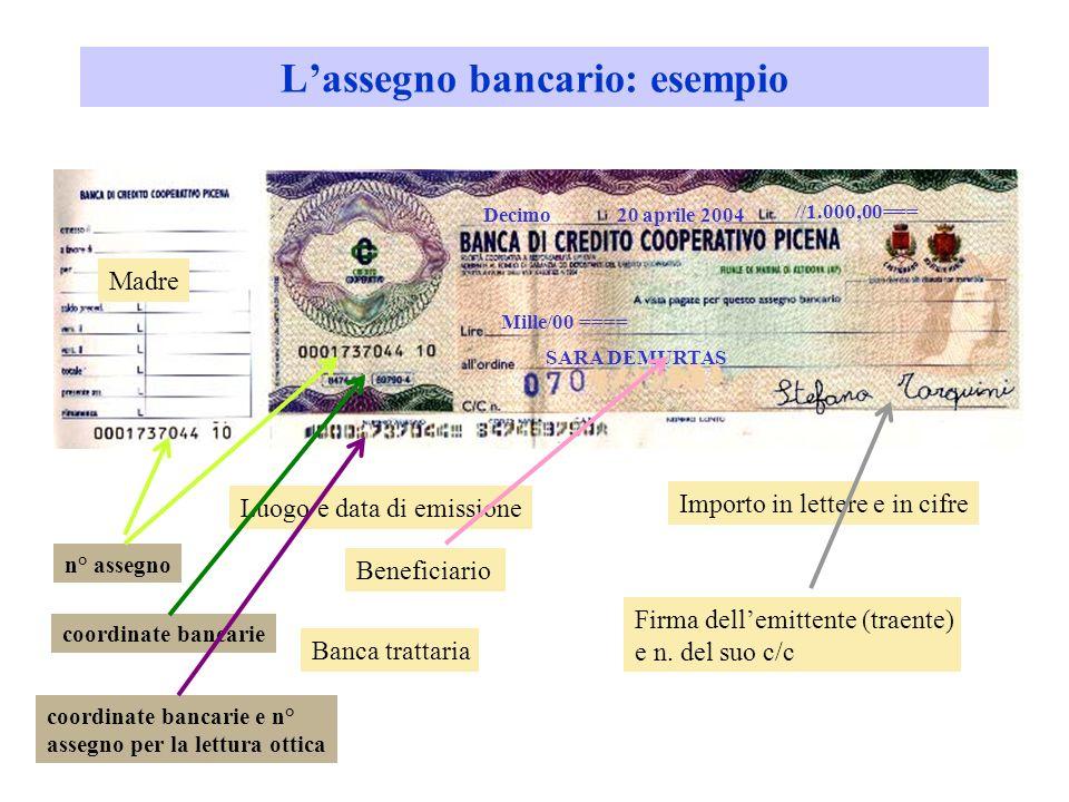 Lassegno bancario: esempio //1.000,00=== Mille/00 ==== SARA DEMURTAS Decimo20 aprile 2004 Luogo e data di emissione Importo in lettere e in cifre Beneficiario Firma dellemittente (traente) e n.