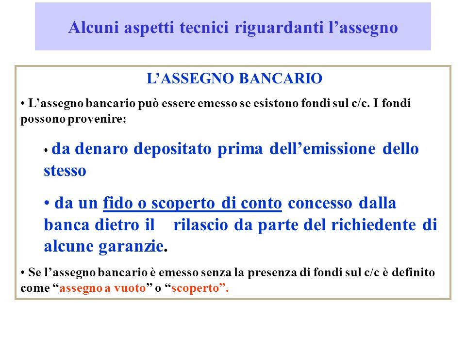 Alcuni aspetti tecnici riguardanti lassegno LASSEGNO BANCARIO Lassegno bancario può essere emesso se esistono fondi sul c/c.