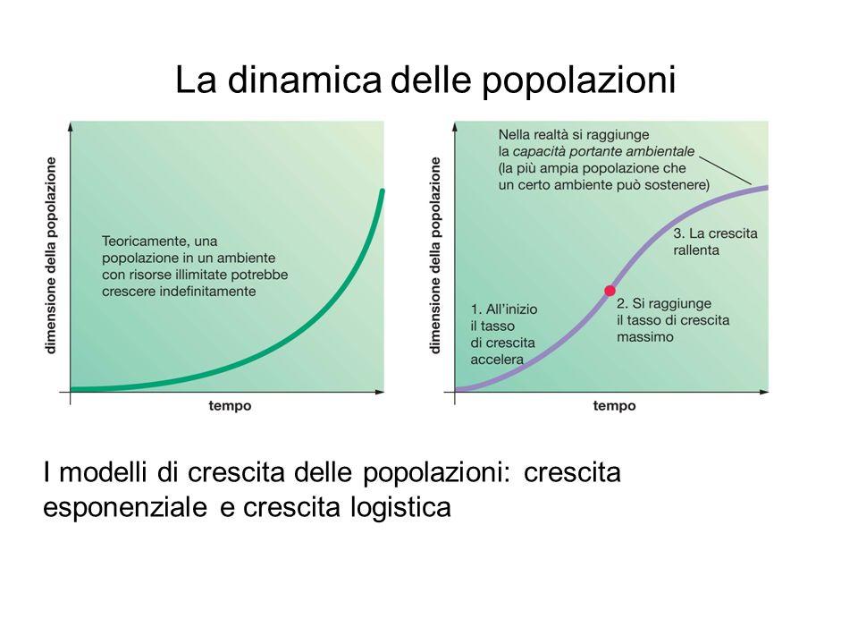 La dinamica delle popolazioni I modelli di crescita delle popolazioni: crescita esponenziale e crescita logistica