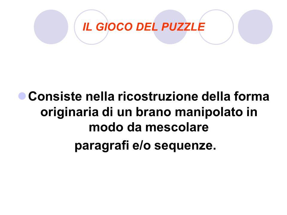 IL GIOCO DEL PUZZLE Consiste nella ricostruzione della forma originaria di un brano manipolato in modo da mescolare paragrafi e/o sequenze.