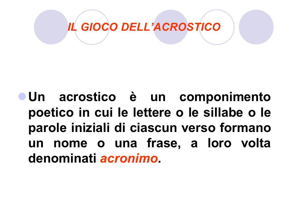 IL GIOCO DELLACROSTICO Un acrostico è un componimento poetico in cui le lettere o le sillabe o le parole iniziali di ciascun verso formano un nome o u