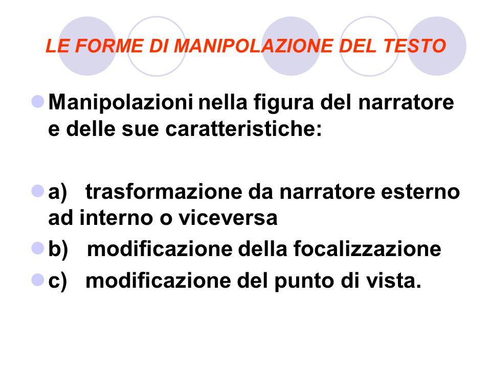 LE FORME DI MANIPOLAZIONE DEL TESTO Manipolazioni nella figura del narratore e delle sue caratteristiche: a) trasformazione da narratore esterno ad in