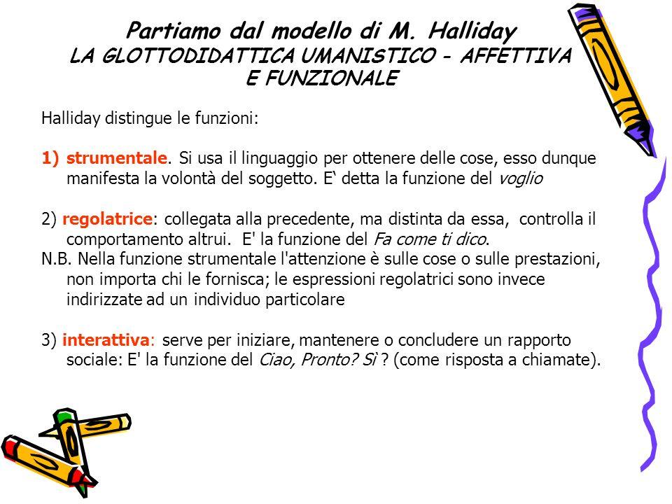 Partiamo dal modello di M. Halliday LA GLOTTODIDATTICA UMANISTICO - AFFETTIVA E FUNZIONALE Halliday distingue le funzioni: 1)strumentale. Si usa il li