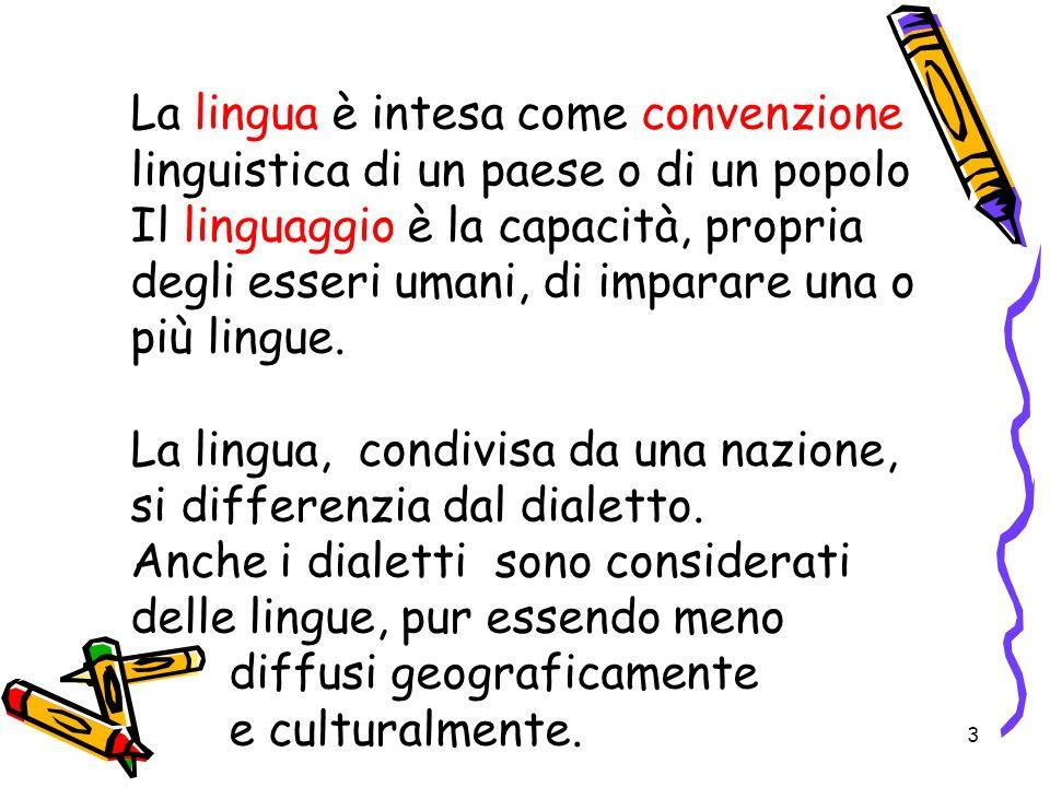 3 La lingua è intesa come convenzione linguistica di un paese o di un popolo Il linguaggio è la capacità, propria degli esseri umani, di imparare una