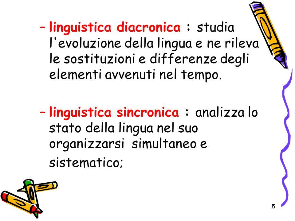 5 –l–linguistica diacronica : studia l'evoluzione della lingua e ne rileva le sostituzioni e differenze degli elementi avvenuti nel tempo. –l–linguist