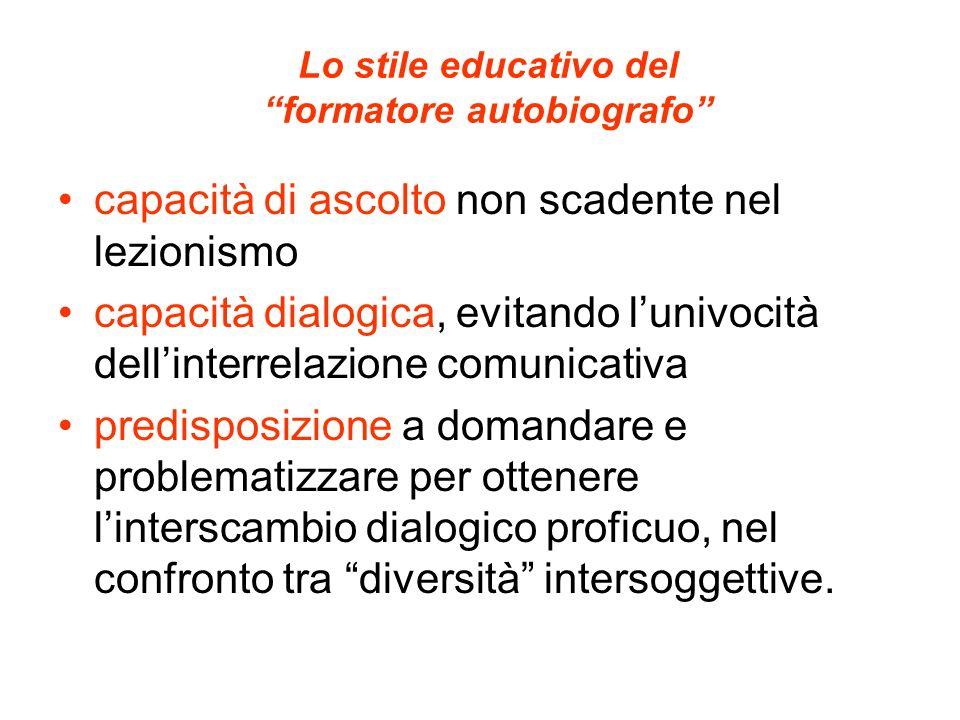 Lo stile educativo del formatore autobiografo capacità di ascolto non scadente nel lezionismo capacità dialogica, evitando lunivocità dellinterrelazio