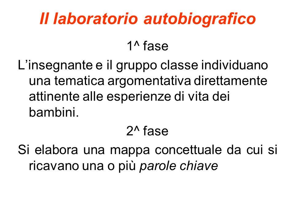Il laboratorio autobiografico 1^ fase Linsegnante e il gruppo classe individuano una tematica argomentativa direttamente attinente alle esperienze di