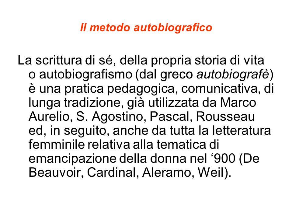 Il metodo autobiografico La scrittura di sé, della propria storia di vita o autobiografismo (dal greco autobiografè) è una pratica pedagogica, comunic