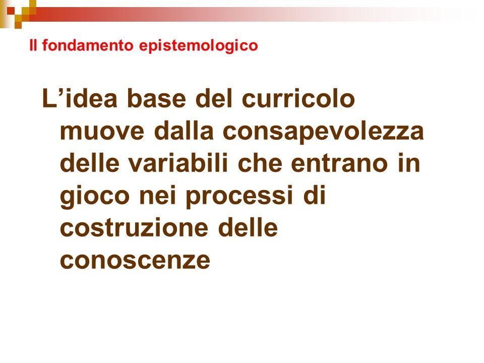 Il fondamento epistemologico Lidea base del curricolo muove dalla consapevolezza delle variabili che entrano in gioco nei processi di costruzione dell