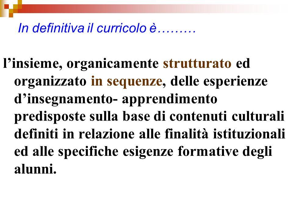 In definitiva il curricolo è……… linsieme, organicamente strutturato ed organizzato in sequenze, delle esperienze dinsegnamento- apprendimento predispo