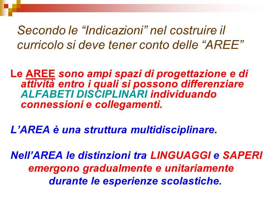 Secondo le Indicazioni nel costruire il curricolo si deve tener conto delle AREE Le AREE sono ampi spazi di progettazione e di attività entro i quali