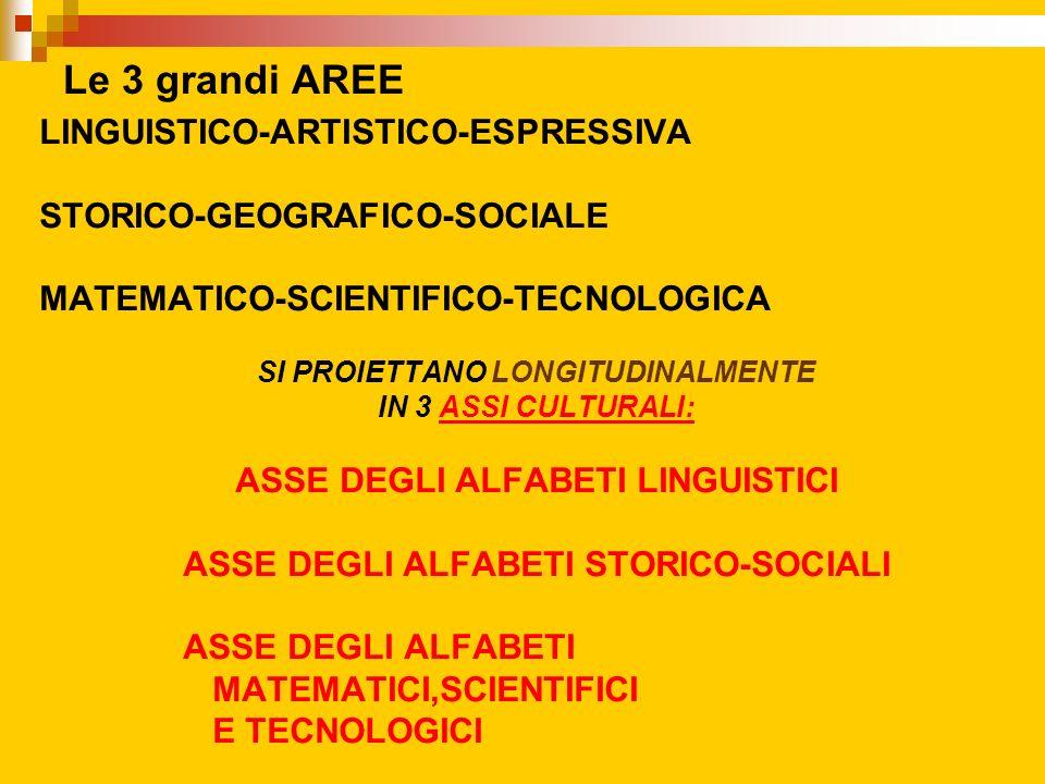 Le 3 grandi AREE LINGUISTICO-ARTISTICO-ESPRESSIVA STORICO-GEOGRAFICO-SOCIALE MATEMATICO-SCIENTIFICO-TECNOLOGICA SI PROIETTANO LONGITUDINALMENTE IN 3 A