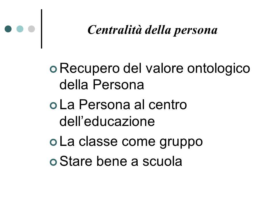 Centralità della persona Recupero del valore ontologico della Persona La Persona al centro delleducazione La classe come gruppo Stare bene a scuola