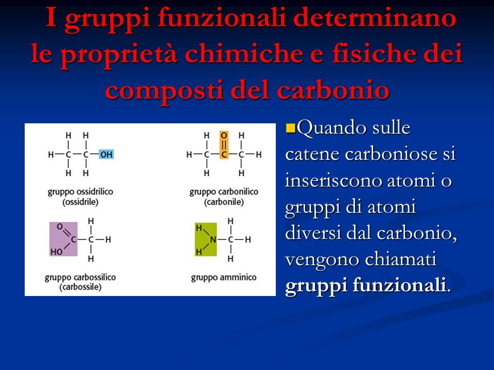 I gruppi funzionali determinano le proprietà chimiche e fisiche dei composti del carbonio I gruppi funzionali determinano le proprietà chimiche e fisi