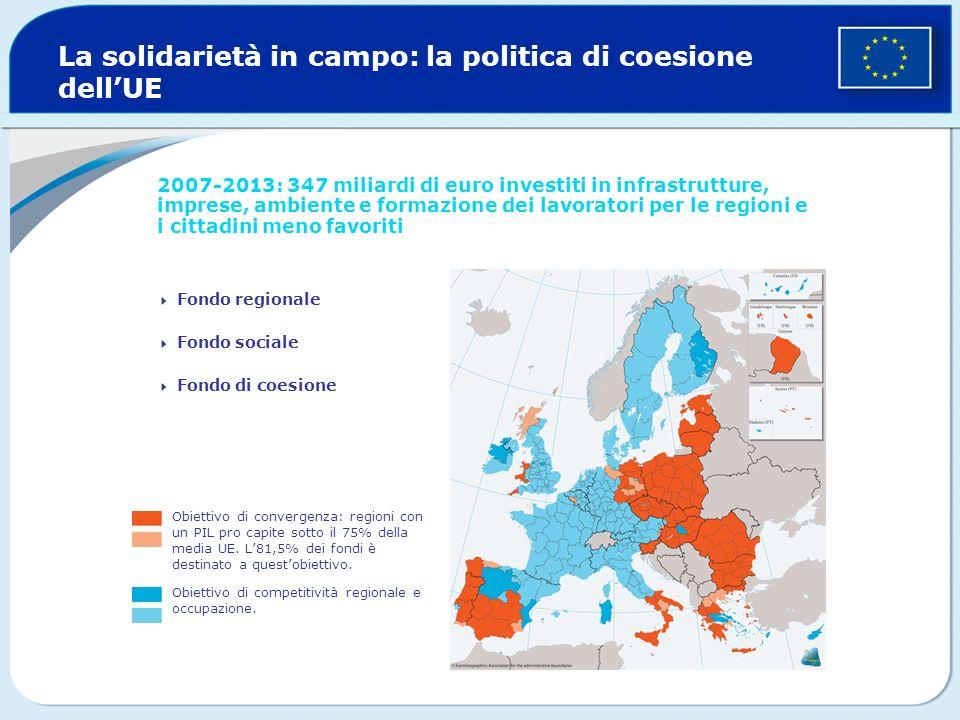La solidarietà in campo: la politica di coesione dellUE 2007-2013: 347 miliardi di euro investiti in infrastrutture, imprese, ambiente e formazione de