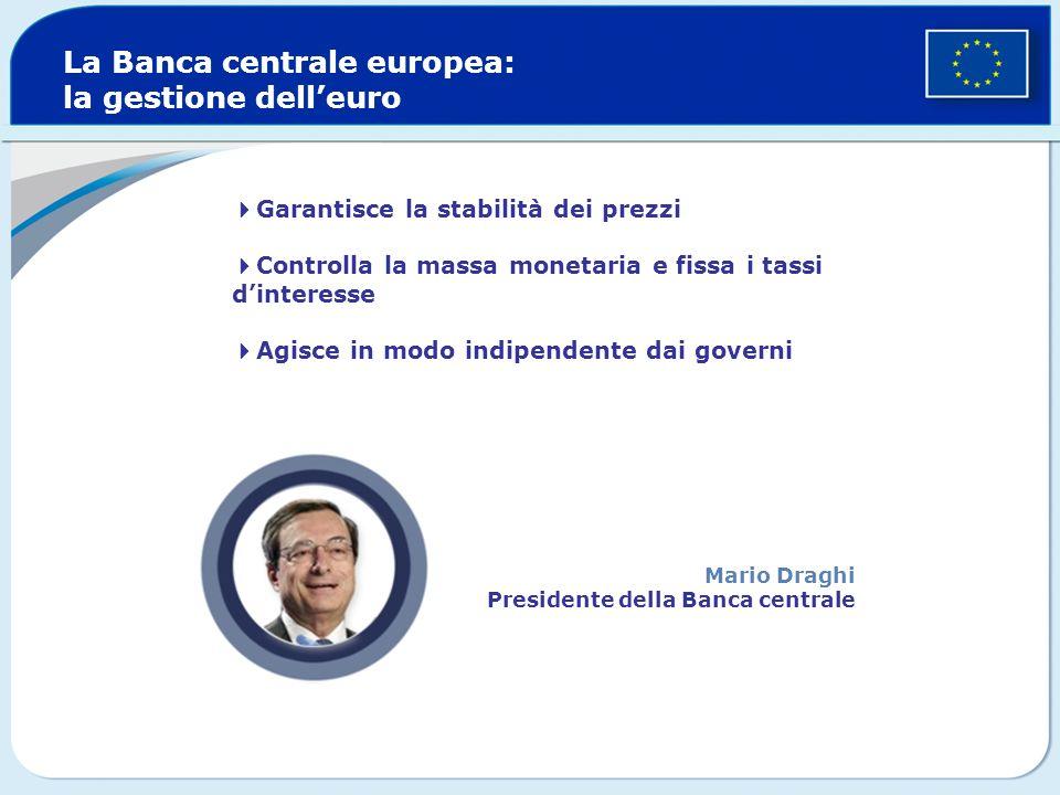 Garantisce la stabilità dei prezzi Controlla la massa monetaria e fissa i tassi dinteresse Agisce in modo indipendente dai governi La Banca centrale e
