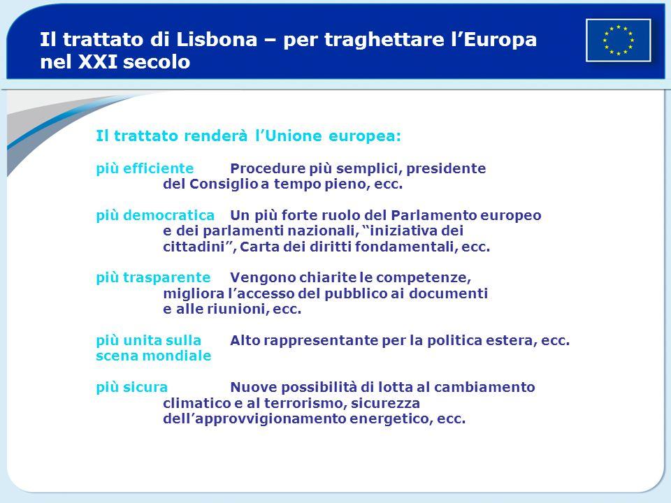 Il trattato di Lisbona – per traghettare lEuropa nel XXI secolo Il trattato renderà lUnione europea: più efficiente Procedure più semplici, presidente