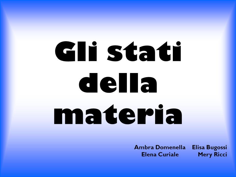 Gli stati della materia Ambra Domenella Elisa Bugossi Elena Curiale Mery Ricci