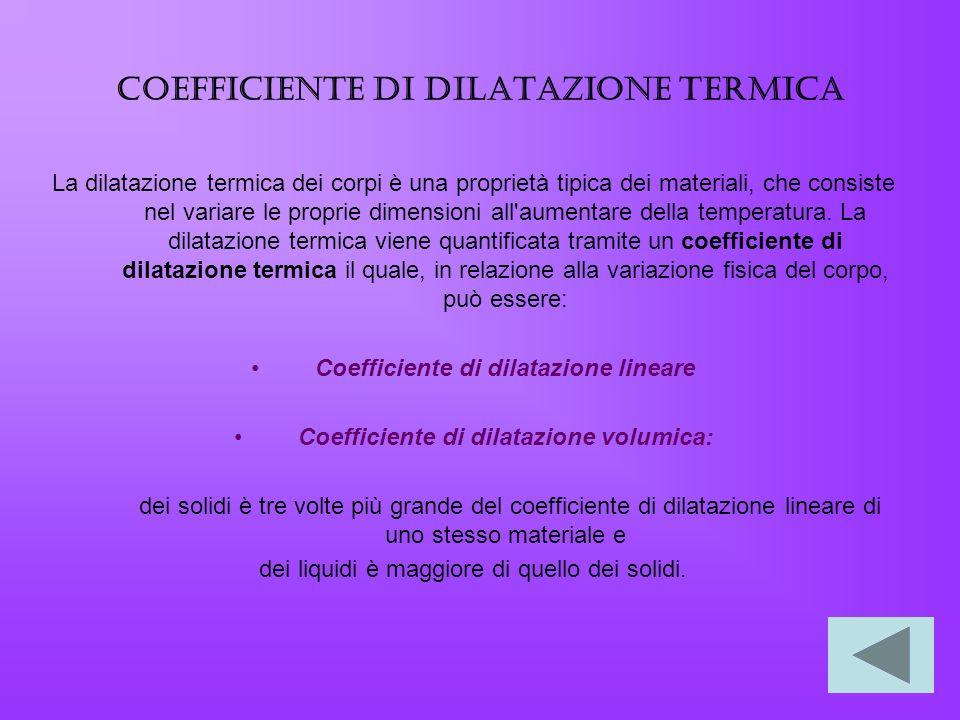 Coefficiente di dilatazione termica La dilatazione termica dei corpi è una proprietà tipica dei materiali, che consiste nel variare le proprie dimensi