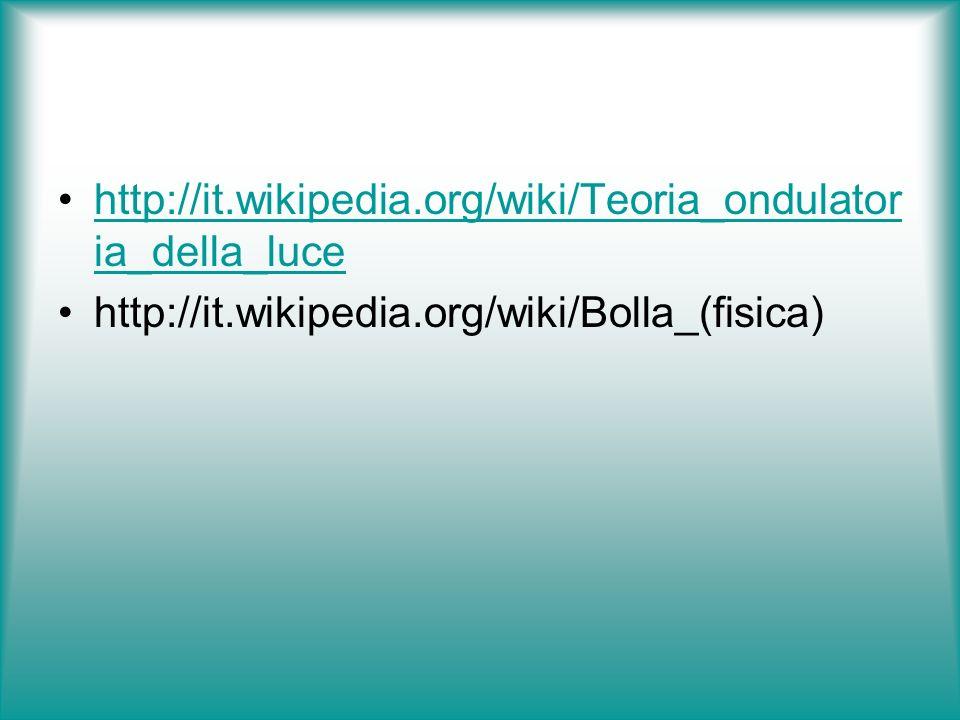 http://it.wikipedia.org/wiki/Teoria_ondulator ia_della_lucehttp://it.wikipedia.org/wiki/Teoria_ondulator ia_della_luce http://it.wikipedia.org/wiki/Bo