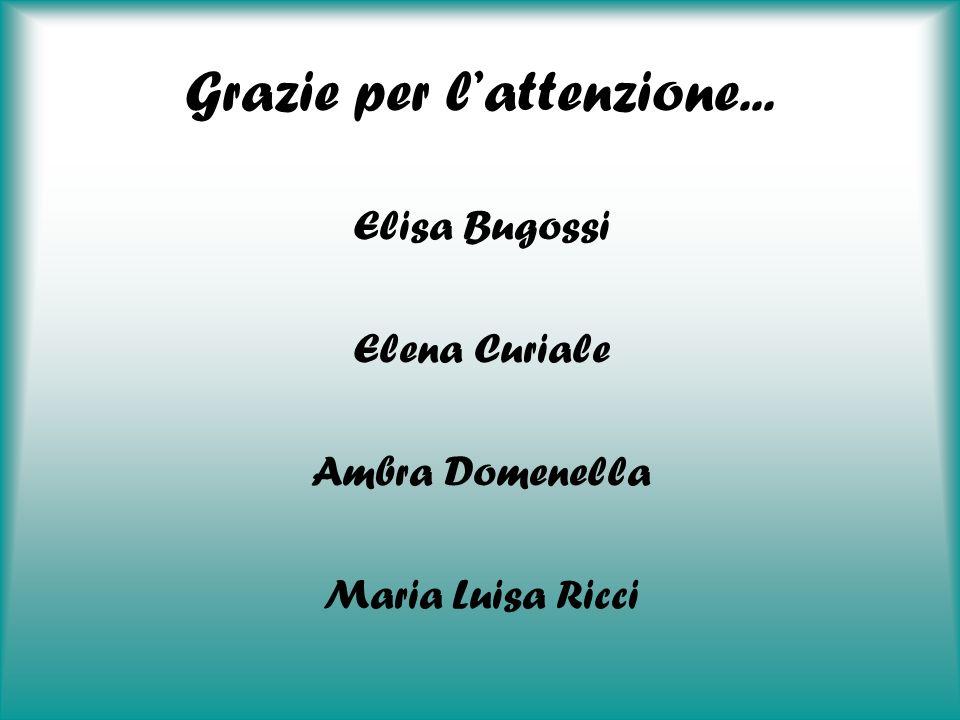 Grazie per lattenzione... Elisa Bugossi Elena Curiale Ambra Domenella Maria Luisa Ricci