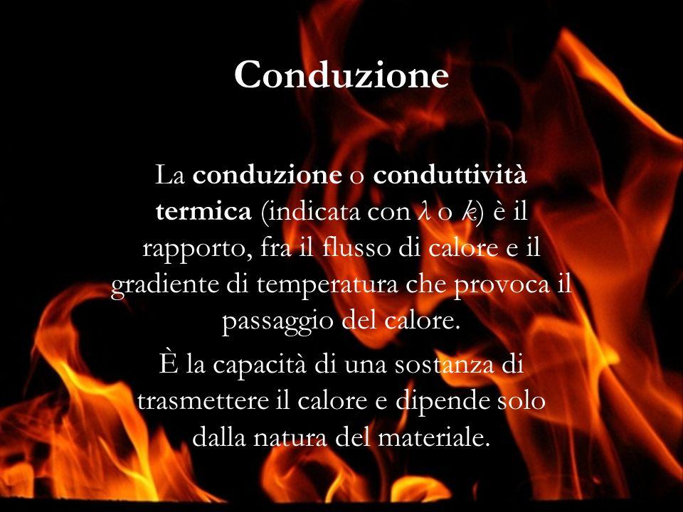 Conduzione La conduzione o conduttività termica (indicata con λ o k) è il rapporto, fra il flusso di calore e il gradiente di temperatura che provoca il passaggio del calore.