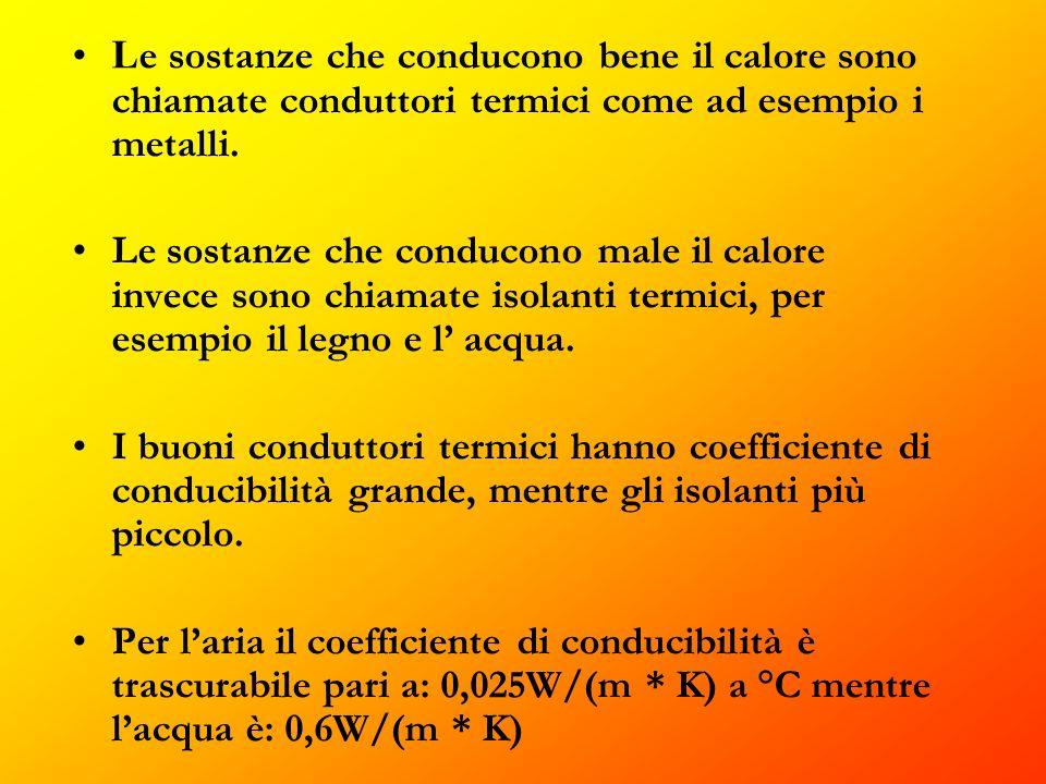 L e sostanze che conducono bene il calore sono chiamate conduttori termici come ad esempio i metalli.