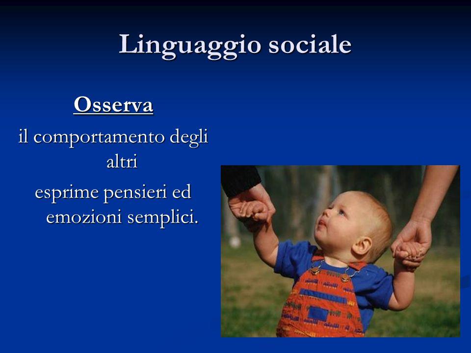 Linguaggio sociale Osserva il comportamento degli altri esprime pensieri ed emozioni semplici.
