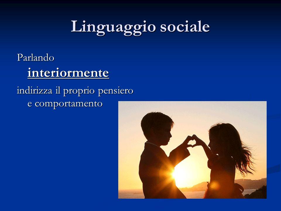 Linguaggio sociale Parlando interiormente indirizza il proprio pensiero e comportamento